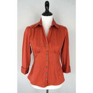 BANANA REPUBLIC Orange Stretch Button Shirt Top